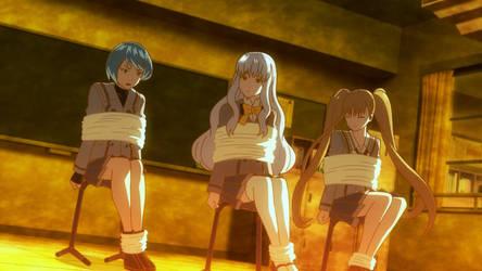 Chloe, Mia and Nana tied up
