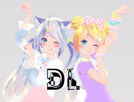 MMD- Sweet Lolita Rin + Kawaii Miku DL