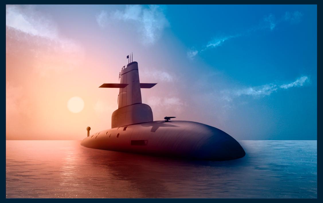 Submarine At Sunrise by jamheadii