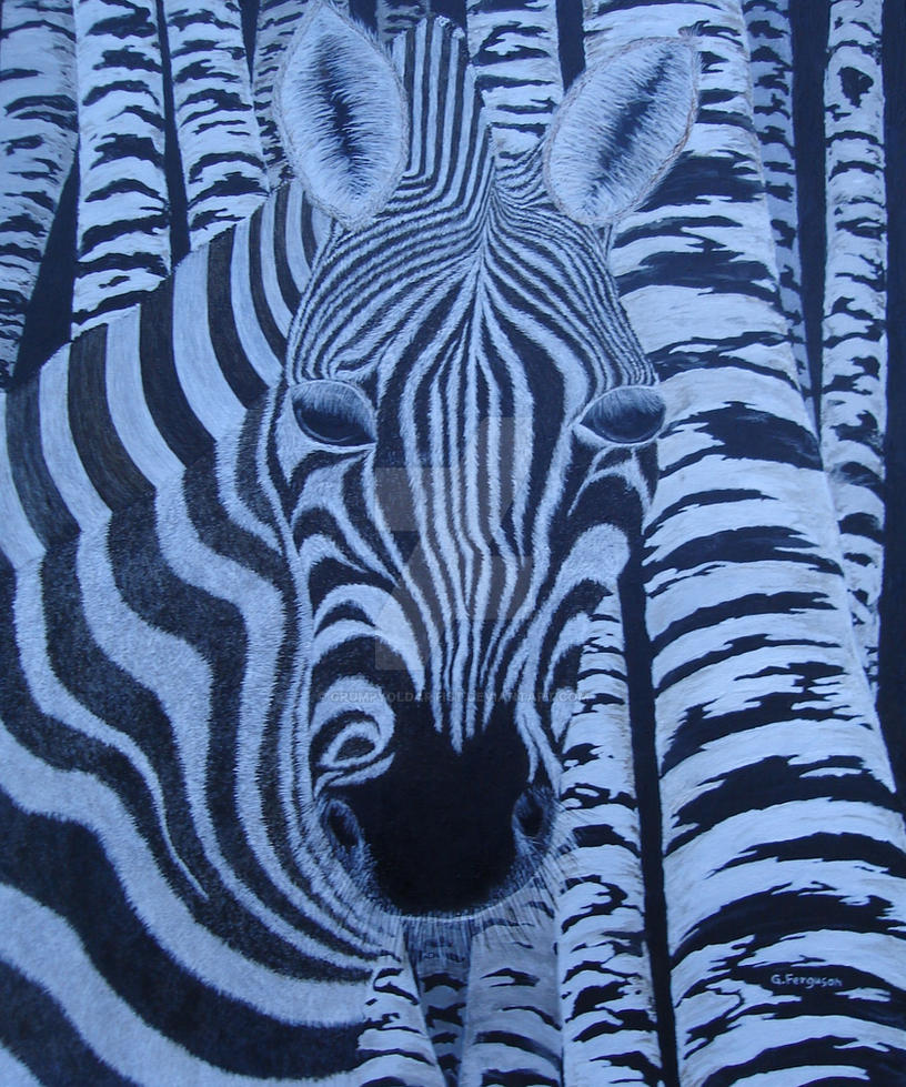 Zebra Among Birch Trees by GrumpyOldArtist