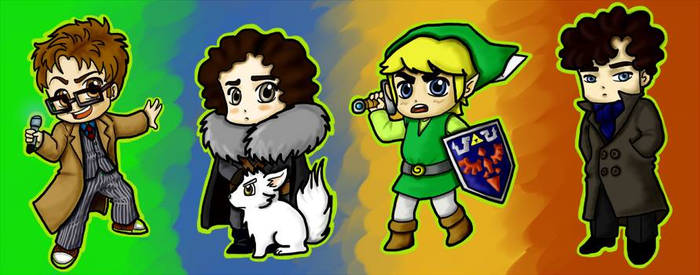 Facebook cover, Chibi characters