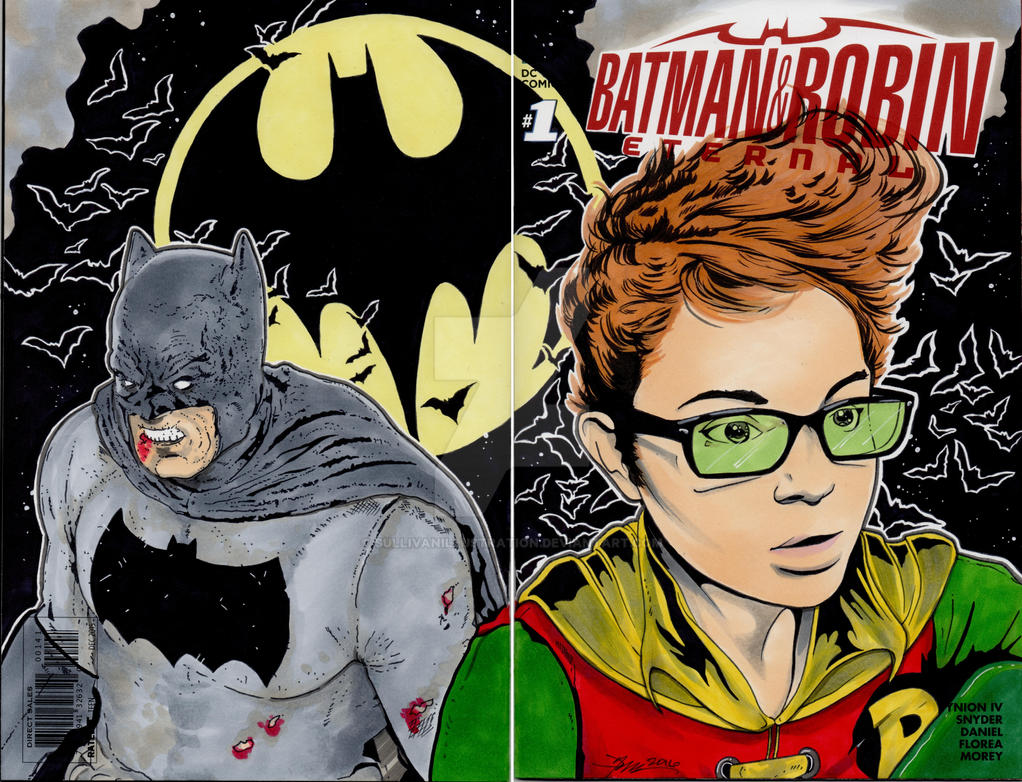 Dark Knight and Carrie Kelly sketch Cover by sullivanillustration