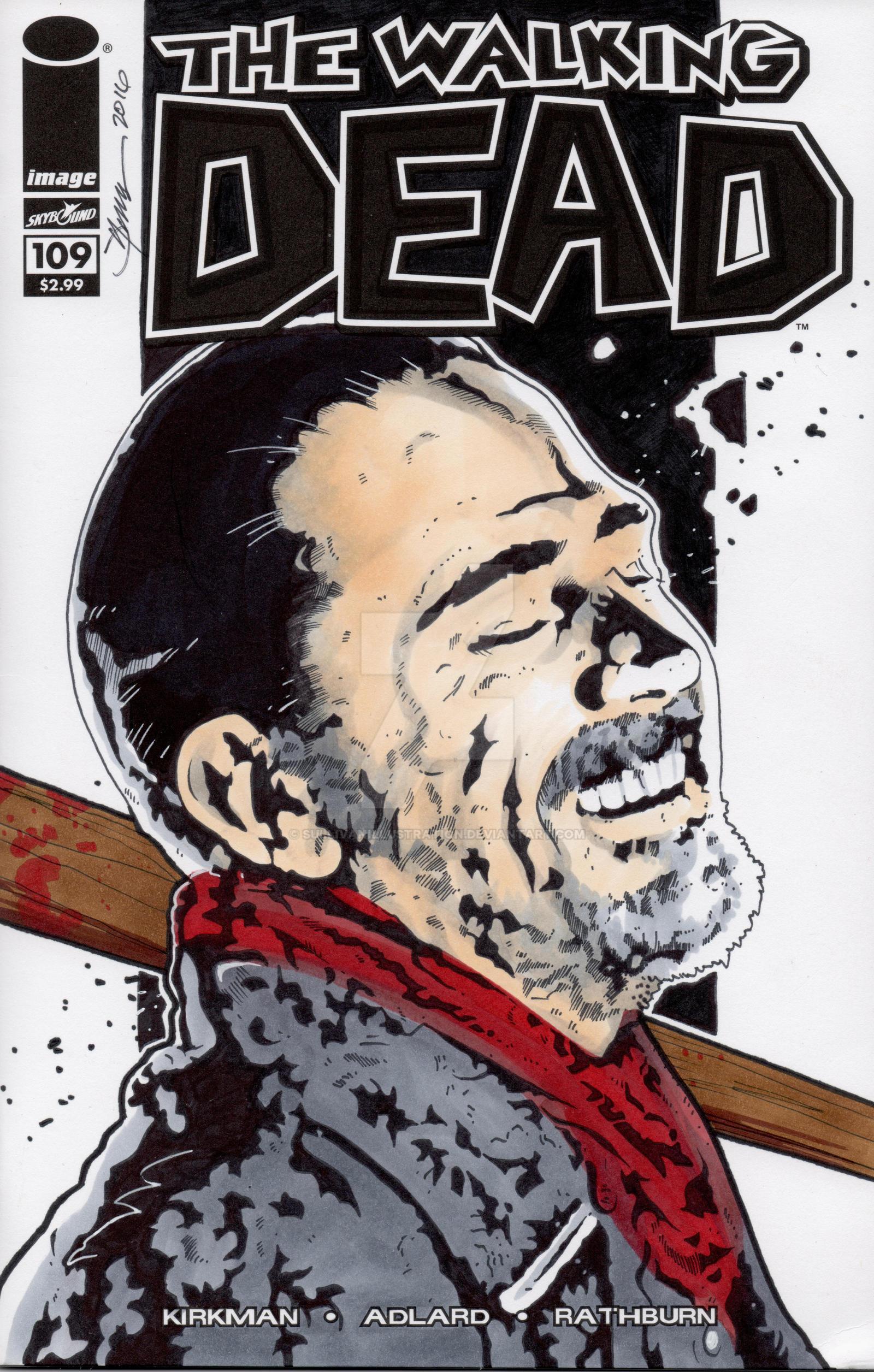 Walking Dead Negan Hand Drawn Sketch Cover by sullivanillustration