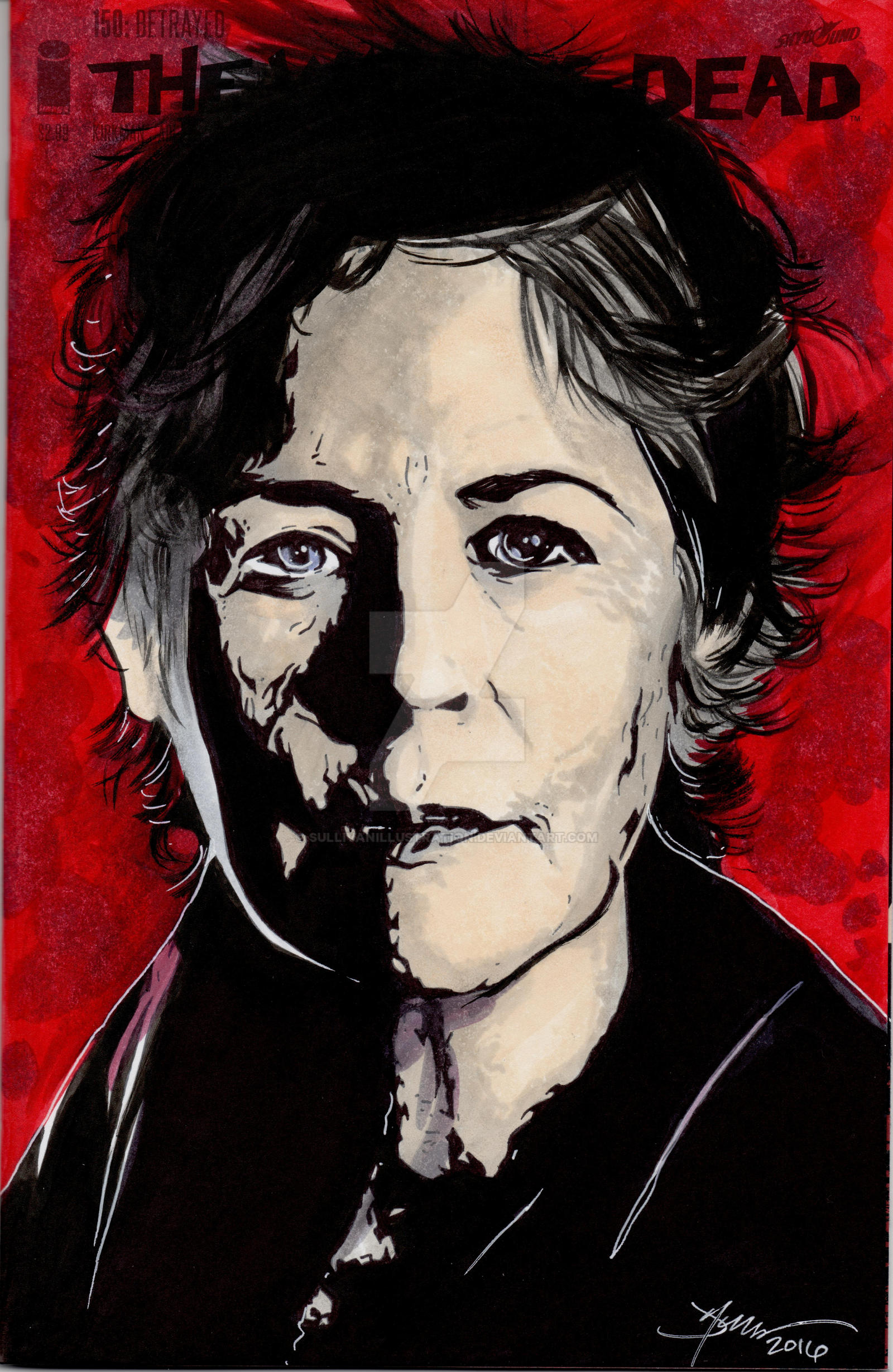 Walking Dead Carol Hand Drawn Sketch Cover by sullivanillustration