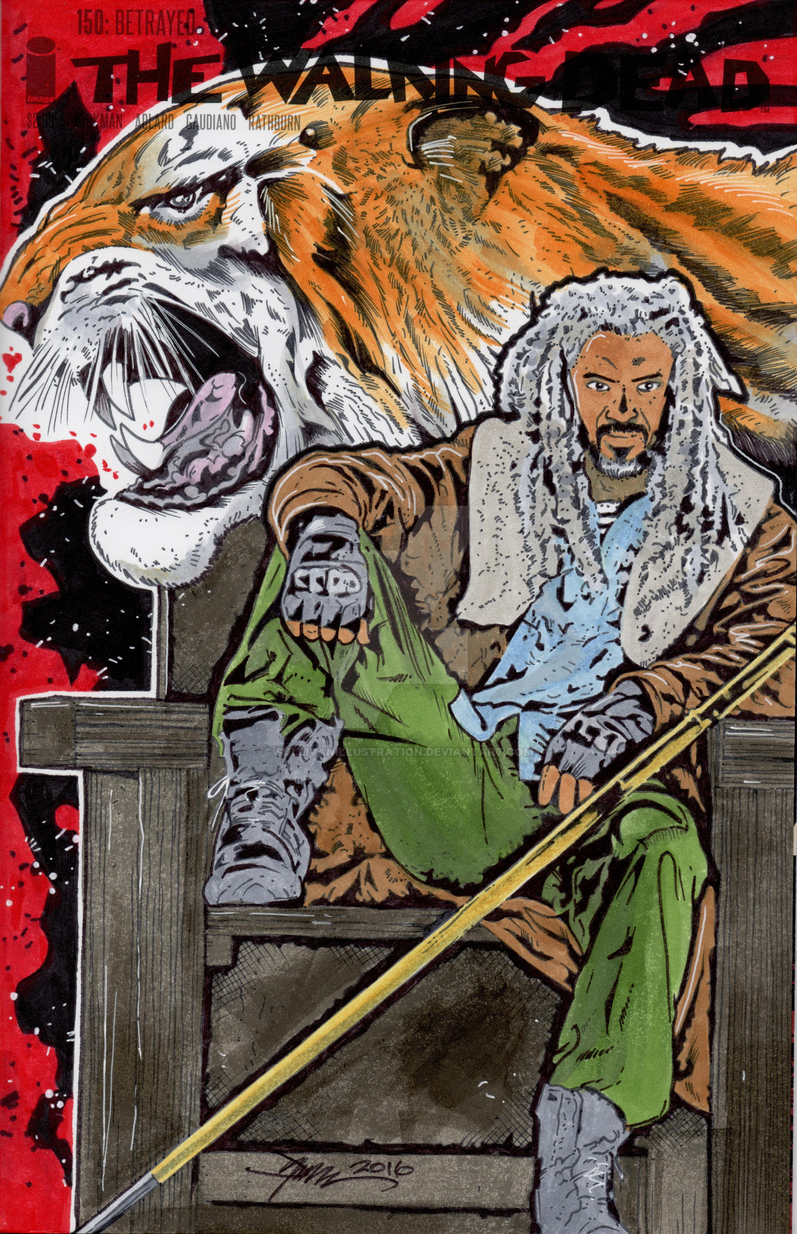 Walking Dead Ezekiel Hand Drawn Sketch Cover by sullivanillustration