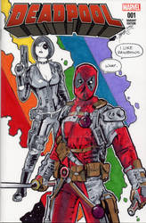 Deadpool and Domino Rainbow Sketch Cover