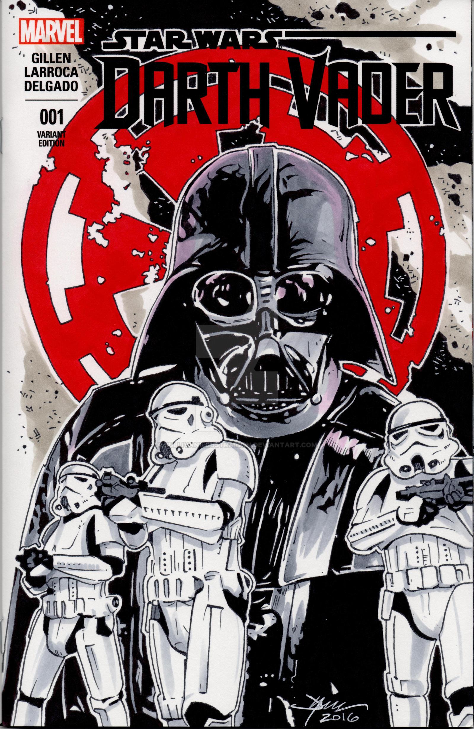 Star Wars Darth Vader Hand Drawn Sketch Cover by sullivanillustration
