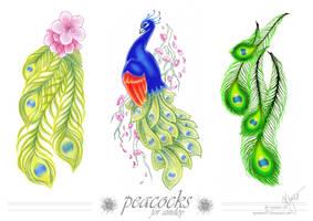 commish - peacock tattoo by wynnter89