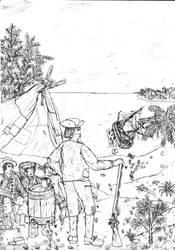 Pirates careening their ship by Swashbucklingartist1