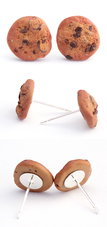 Chocolate Chip Cookie Post Earrings by Bon-AppetEats