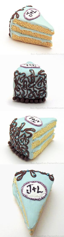 Personalized Wedding Cake Slice
