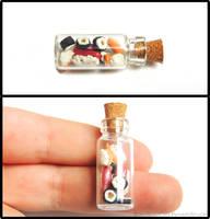 Sushi Bottle Charm by PepperTreeArt