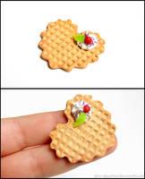Vanilla Waffle Heart Cabochon by PepperTreeArt