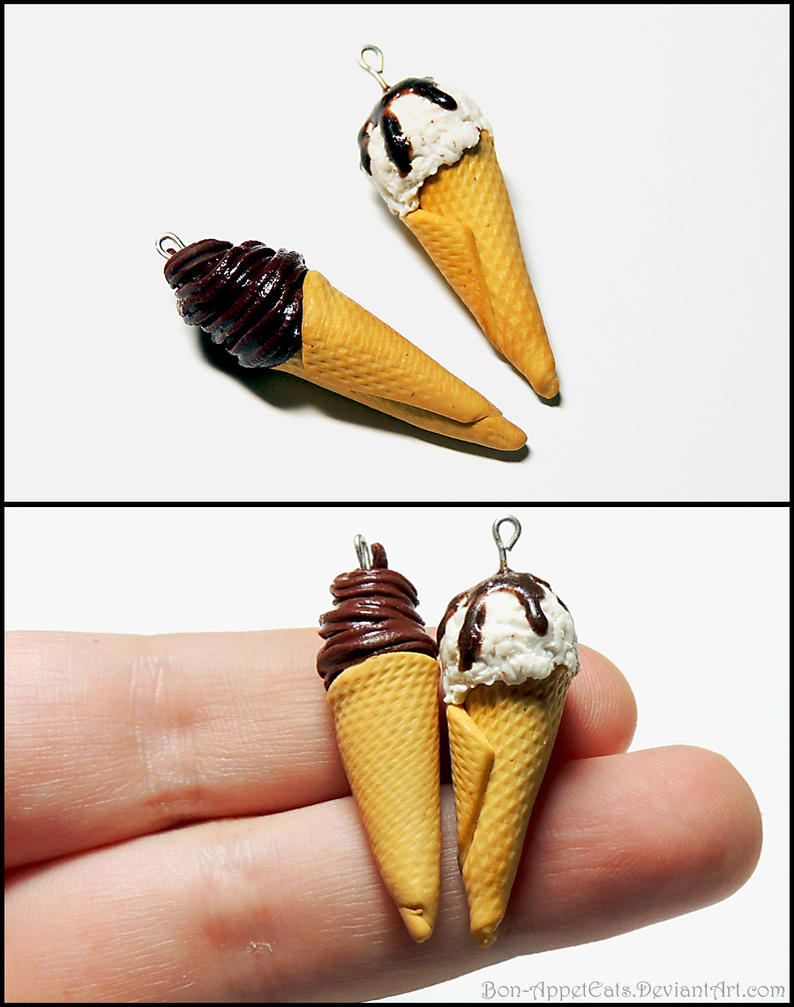 Ice Cream Cone Charms by Bon-AppetEats