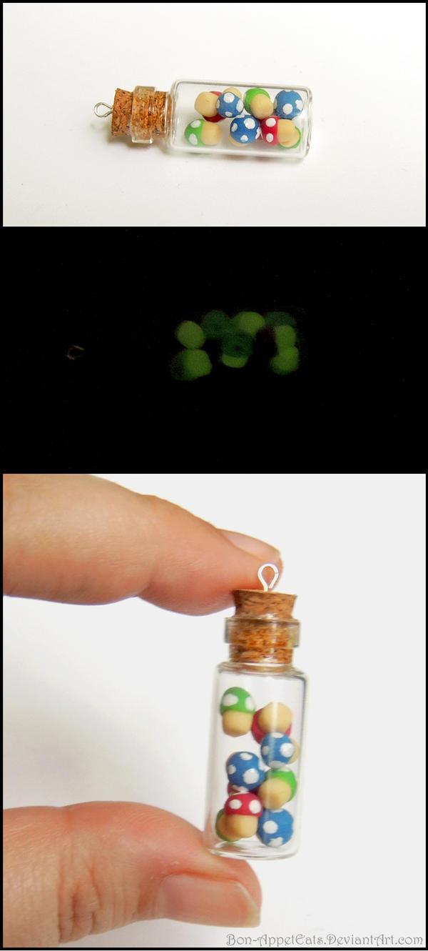 Glow in the Dark Mario Mushroom Bottle Charm by Bon-AppetEats