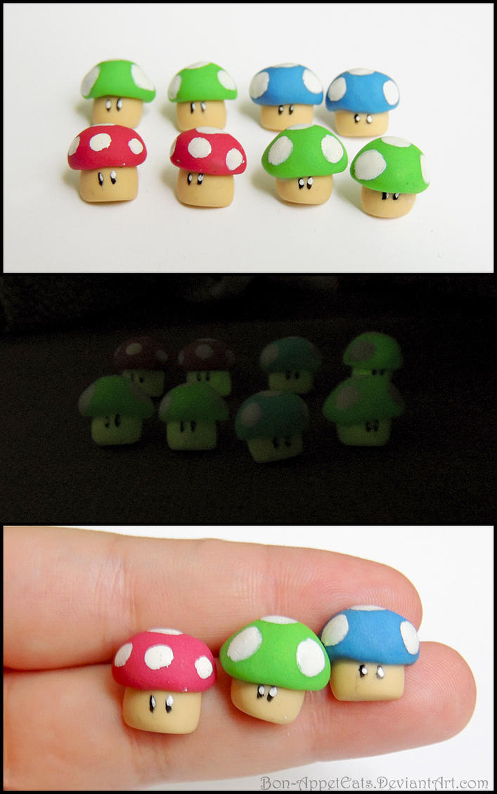 Glow in the Dark Mario Mushroom Post Earrings by Bon-AppetEats