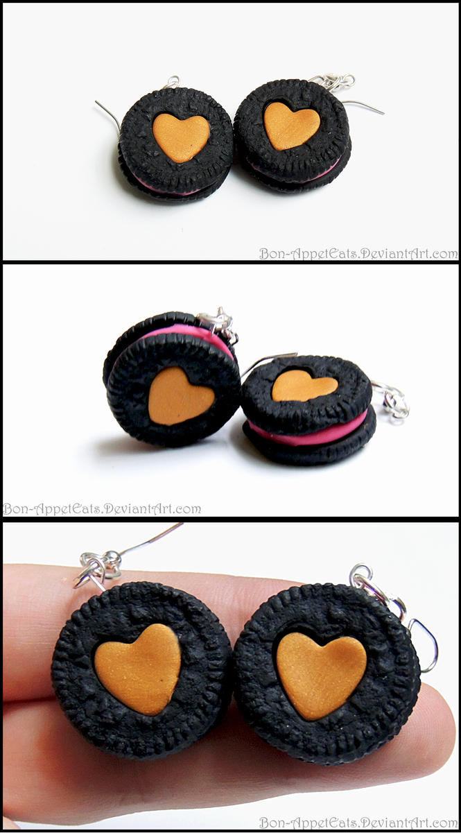 Commission - Custom Oreo Cookie Earrings by Bon-AppetEats