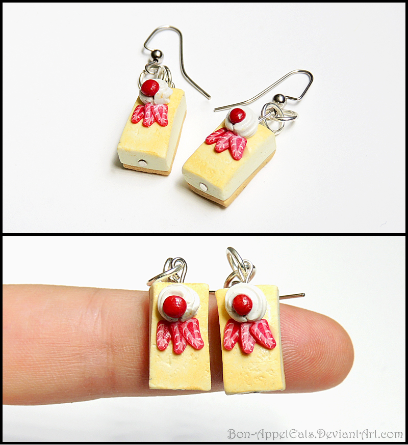 Cheesecake Earrings - Strawberry by Bon-AppetEats