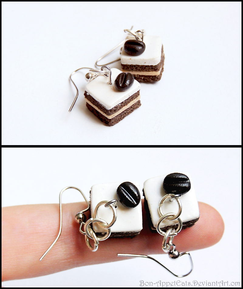 Petit Fours Earrings - Coffee Cake by Bon-AppetEats
