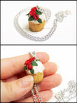 Rose  Vanilla Cupcake Necklace by PepperTreeArt