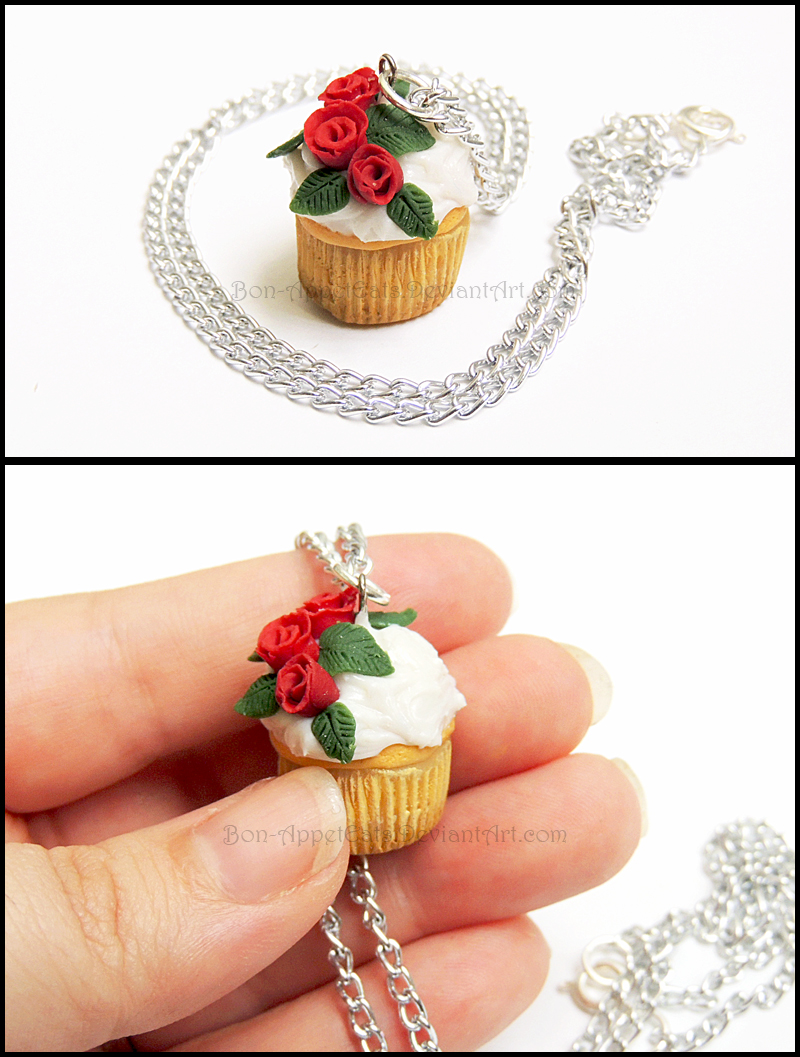 Rose  Vanilla Cupcake Necklace by Bon-AppetEats