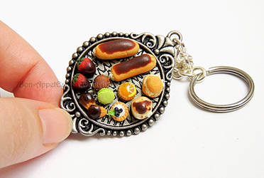 Commission - Pastry Serving Tray Key Chain by PepperTreeArt