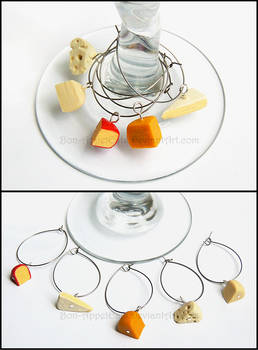 Cheese Wine Charms by PepperTreeArt