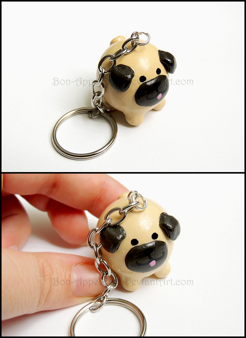 Commission - Pug Key Chain by Bon-AppetEats