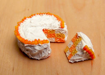 1:12 Halloween Candy Corn Cake by PepperTreeArt