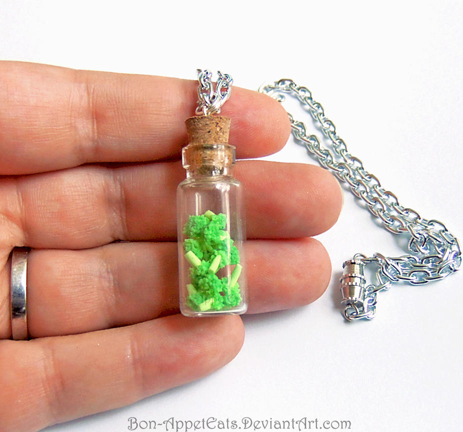 Broccoli Bottle Charm Necklace by Bon-AppetEats