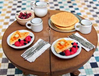 1:12 Waffle Breakfast Plates by PepperTreeArt