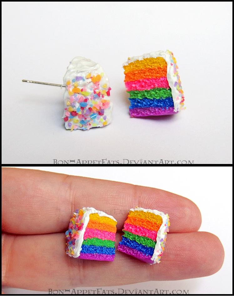 Rainbow Cake Post Earrings by Bon-AppetEats