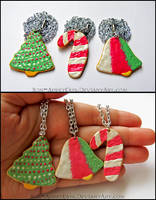 Frosted Christmas Sugar Cookie Necklaces by PepperTreeArt