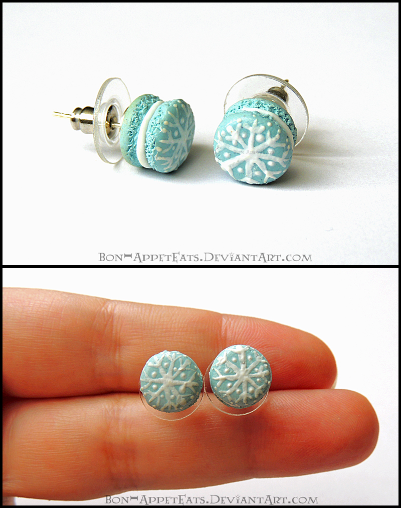 Snowflake Macaron Post Earrings by Bon-AppetEats