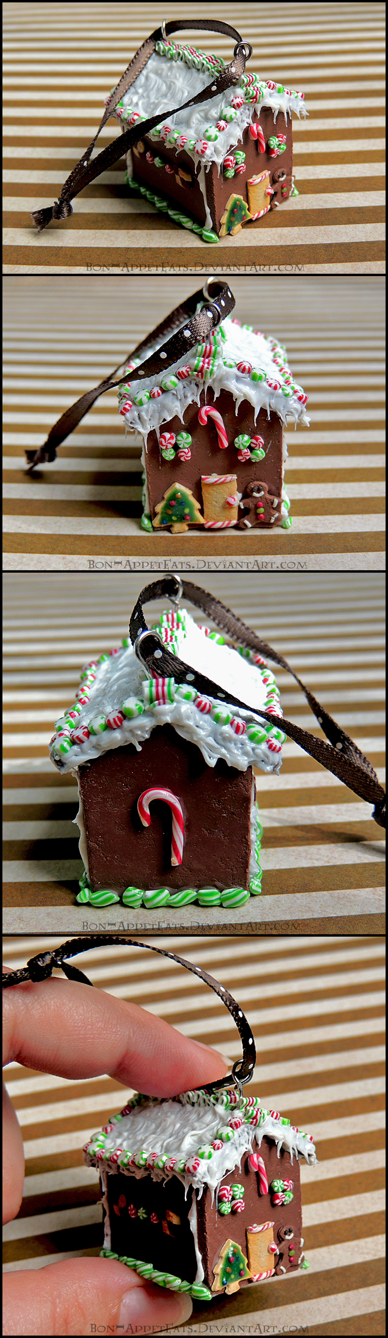 Miniature Gingerbread House Christmas Ornament by Bon-AppetEats