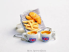 Commission - Fish and Chips Ring plus Tea Earrings by PepperTreeArt