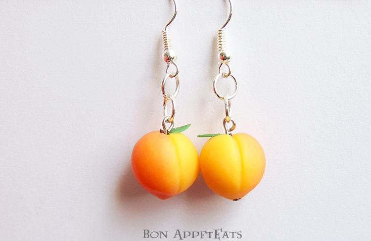 Commission - Peach Earrings by Bon-AppetEats