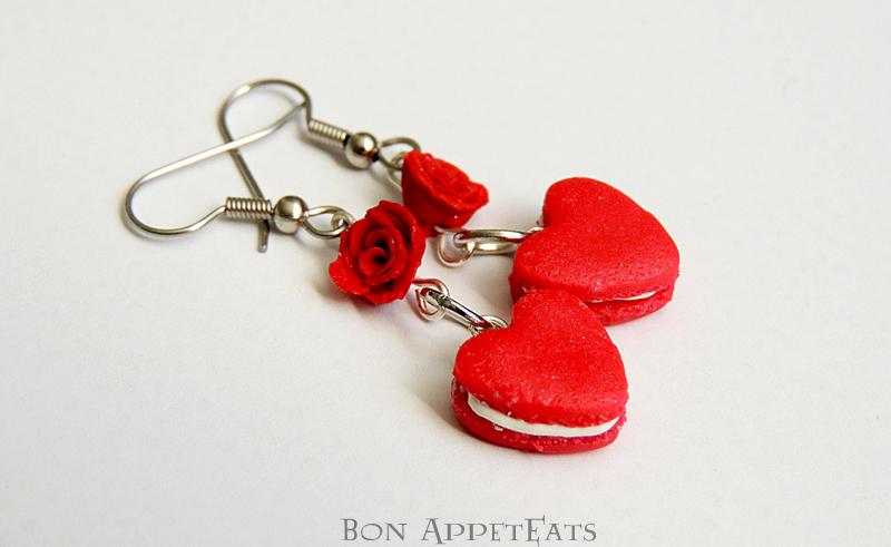 Rose and Heart Macaron Earrings by Bon-AppetEats