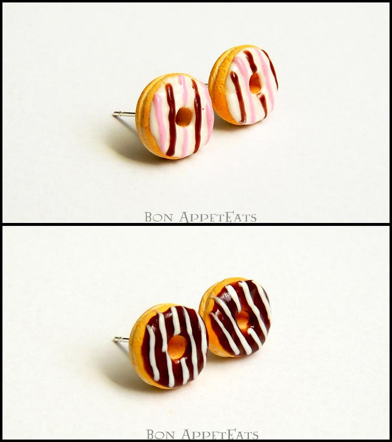 Miniature Frosted Donut Post Earrings by Bon-AppetEats
