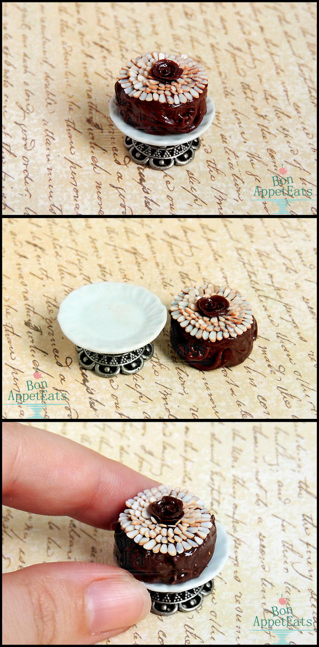 1:12 Chocolate Almond Cake and Cake Stand Details by Bon-AppetEats