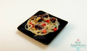 1:12 Mussel Pasta Plate by PepperTreeArt