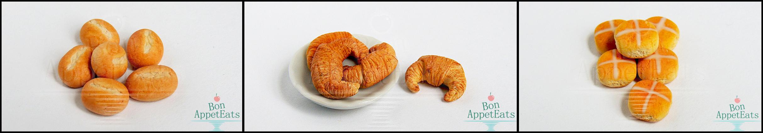 1:12 Scale Rolls, Croissants, and Hot Cross Buns by Bon-AppetEats