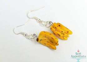 Ripe Banana Bunch Earrings by PepperTreeArt