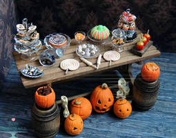 1:12 Halloween Dessert Table 2013 by PepperTreeArt