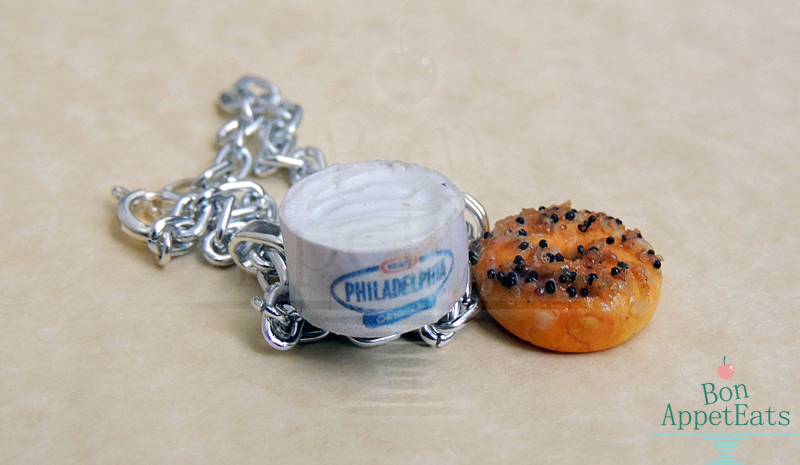 Commission - Bagel and Cream Cheese Bracelet by Bon-AppetEats