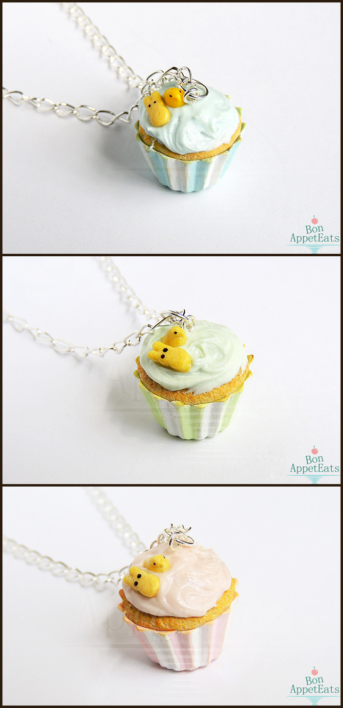Peep Easter Cupcake Necklaces by Bon-AppetEats