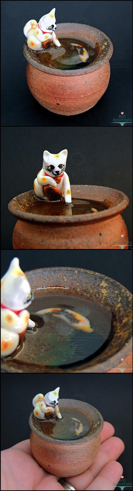 Commission: Maneki Neko Koi Pond Pottery by Bon-AppetEats