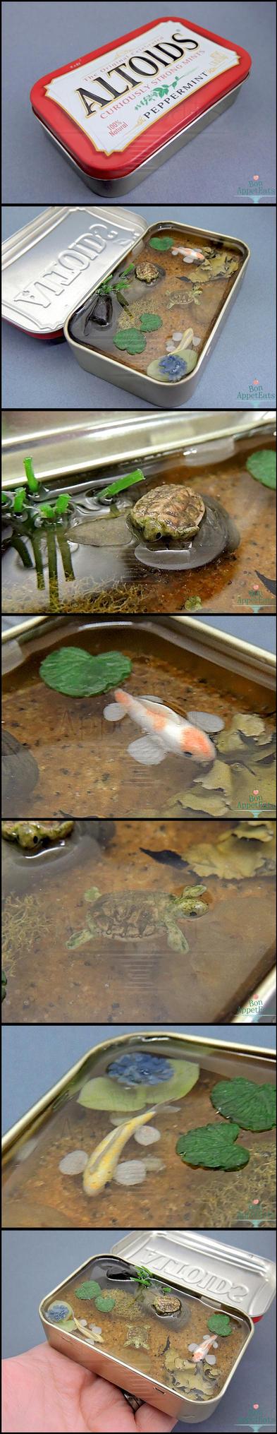 FOR SALE - Miniature Koi and Turtle Altoids Pond by Bon-AppetEats