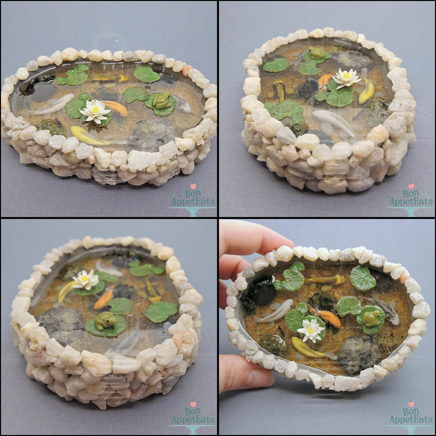 Commission miniature stone pond with 5 koi by bon for Resin koi fish