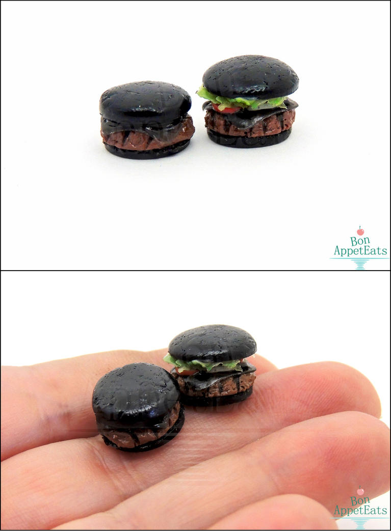 1:12 Miniature Burger King Kuro Burger Set by Bon-AppetEats